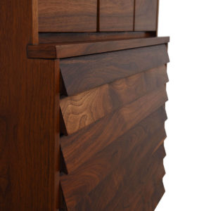 Compact Walnut Mid Century Slatted Front Tall Chest of Drawers / Dresser
