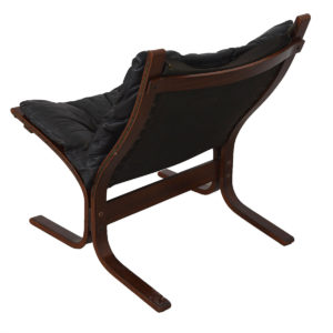 Westnofa Ingmar Relling Black Leather & Rosewood Siesta Chair