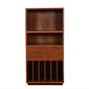 Danish Modern Teak Vinyl / Bar Compact Storage Cabinet