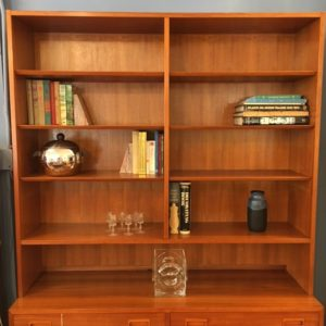 Condo Sized Danish Teak Adjustable Bookcase / Display Cabinet