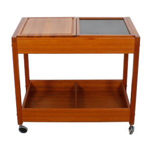 Versatile Danish Teak Serving / Bar Cart with Functional Storage