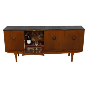 "English G-Plan Walnut Concave ""Scalloped"" Sideboard / Bar Cabinet by E Gomme Ltd"