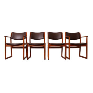 Reupholstered Set of 4 (2 Arm + 2 Side) Danish Teak 'Sleigh-Leg' Dining Chairs