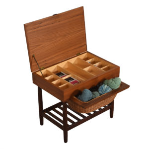 Compact Danish Teak Sewing Organizer With Dual Opening Drawer