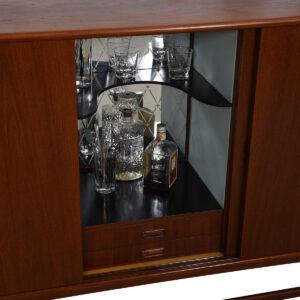 Compact Danish Teak Highboard / Bar / Storage Cabinet