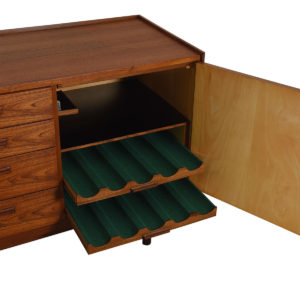 Danish Modern Teak Sideboard with Pull Out Wine Rack