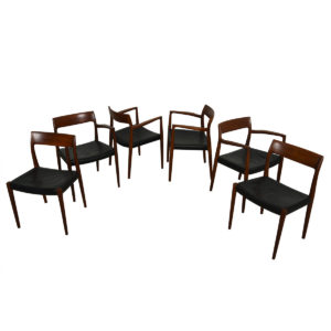 Set of 6 Leather Danish Teak Niels Moller Dining Chairs – Models #57 / #77