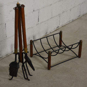 MCM Walnut & Iron Fireplace Tools and Log Holder Set