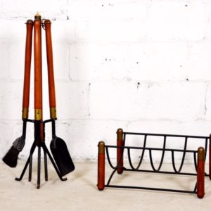 MCM Walnut & Iron Fireplace Tools and Log Holder Set