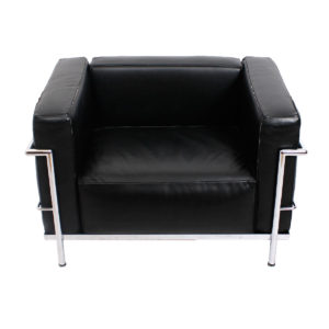 Le Corbusier LC2/LC3 Grand Modele Black Leather Arm Chair