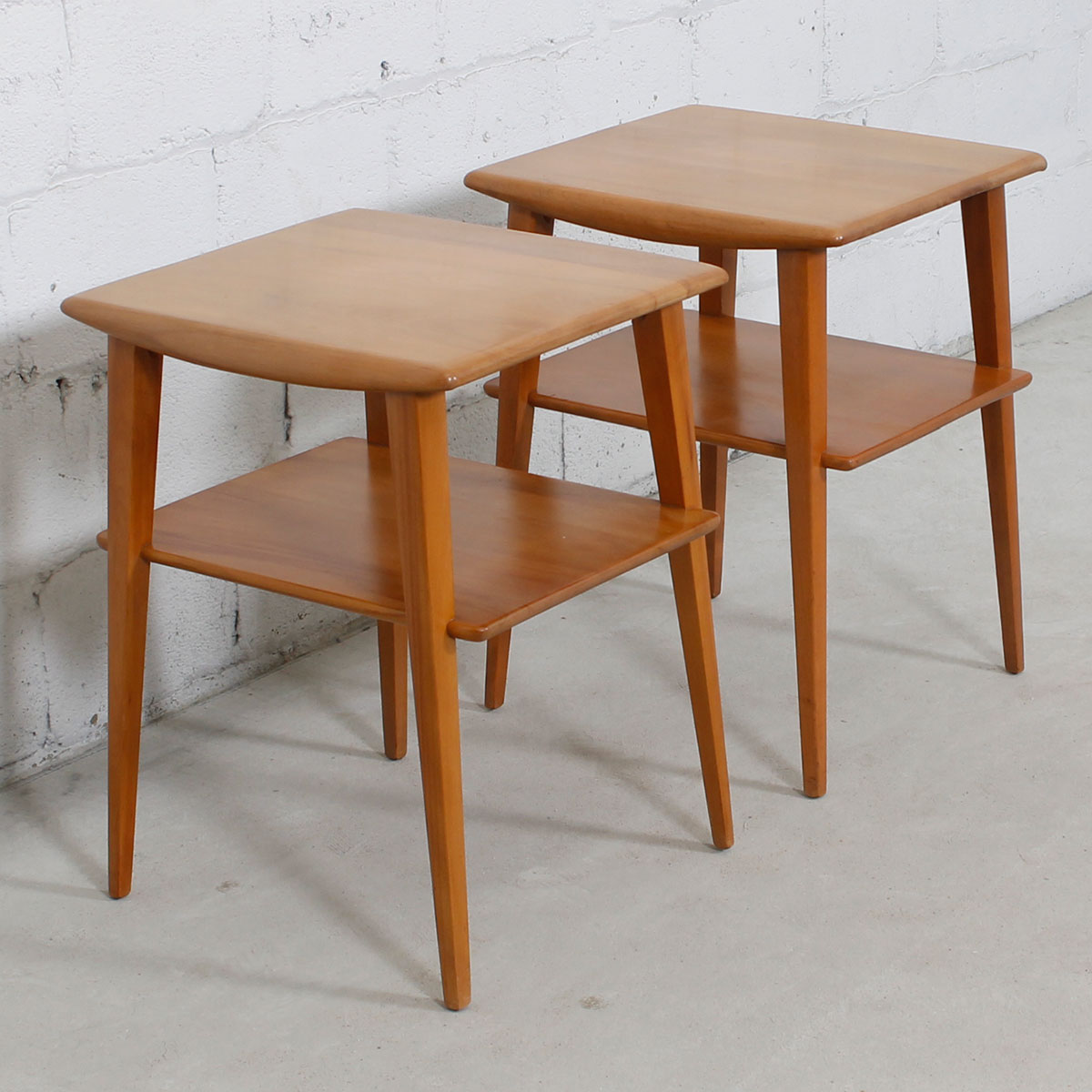 Modern mobler pair of tall heywood wakefield splayed leg side tables geotapseo Image collections