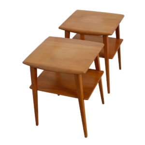 Pair of Tall Heywood Wakefield Splayed Leg Side Tables