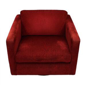 Baughman / Thayer Coggin Swivel Club Chair with Crimson Upholstery