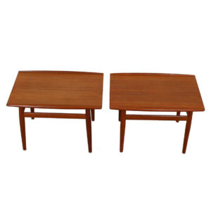 Pair, Grete Jalk Teak End / Accent Tables with Raised Lip Top