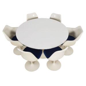 Eero Saarinen Knoll Tulip Dining Table Set w/ 6 Chairs