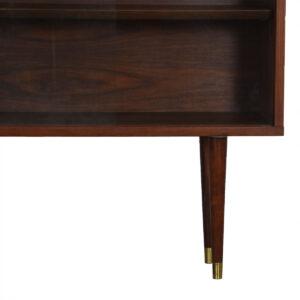 Thin 1950s Walnut Display Cabinet w/ Glass Doors & Adjustable Shelves