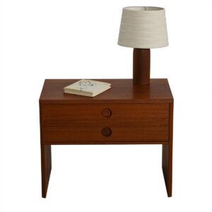 Danish Teak Petite 2-Drawer Nightstand / Accent Table