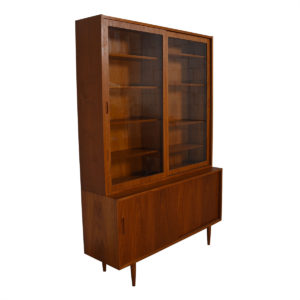 2-Piece Danish Teak (54.5″) Display / Storage Cabinet