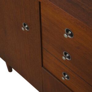 Mid Century Walnut Storage Chest / Bar Cabinet w/ 'Radio Knob' Pulls