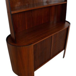 Rare Walnut Bentwood Tambour Door Display / Bar Cabinet