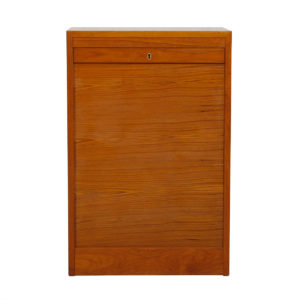Petite Danish Teak Tambour Door Jewelry / Filing Cabinet