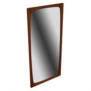 Compact Rounded-Edge Danish Teak Mirror