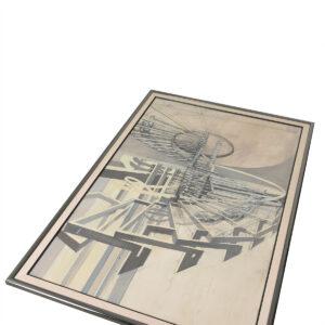 Extraordinary Pencil & Watercolor Sketch of Surrealist Industrial Machinery