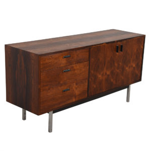 Harvey Probber Rosewood Credenza with Chrome Legs