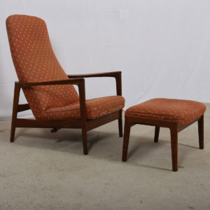 Danish Teak Adjustable Lounge Chair w/ Ottoman
