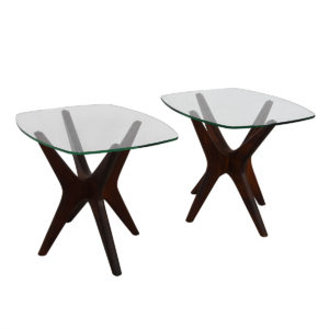 Pair of Vladimir Kagan Style Walnut & Glass 'Jax' Accent Tables