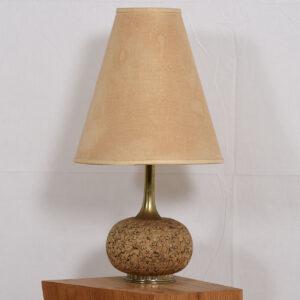 Petite Mid-Century Modern Cork + Brass Lamp