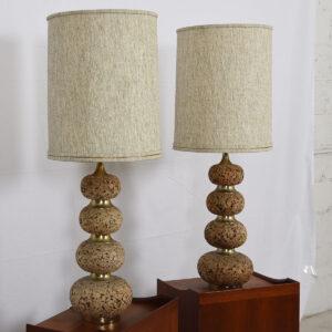 Pair of Mid-Century Modern Tall Cork Lamps