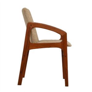 Set of 4 Kai Kristiansen Style Teak Dining Chairs in Oatmeal Upholstery