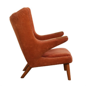 Vintage Papa Bear Chair by Hans Wegner with Salmon-colored Upholstery
