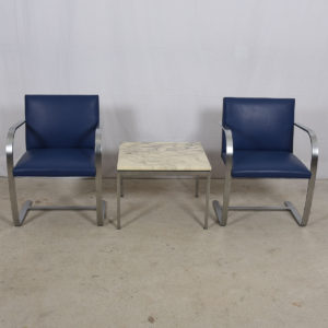 Knoll Living Set – Pair of Blue Upholstered Brno (Stainless) Chairs + Accent Table