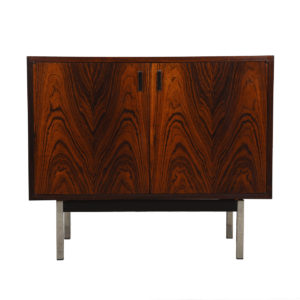 Harvey Probber Rosewood Compact Storage / Bar Cabinet with Chrome Legs