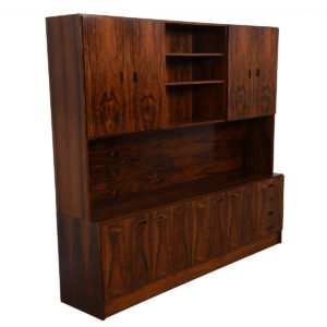 Extraordinary Danish Rosewood Double-Level Media / Storage & Display Cabinet