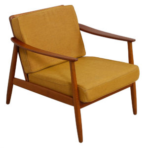 Hans Olsen Danish Teak Arm Chair w/ Rattan Back