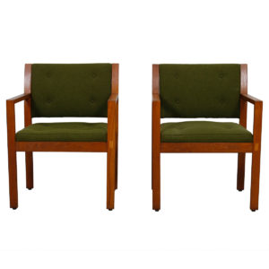 Pair of Mid Century Modern Green Upholstered Accent Arm Chairs