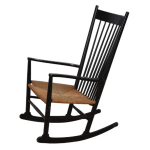 Hans Wegner J16 Black Danish Modern Rocking Chair
