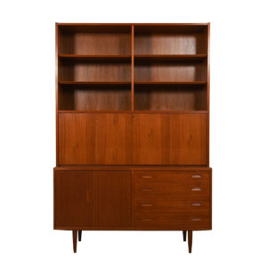 2-Piece Danish Modern Teak Secretary / Display / Locking Cabinet