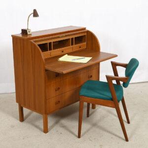 Teak Secretary / Rolltop Desk / Vanity Dresser