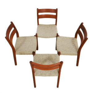 Set of 4 Danish Modern Teak Sculpted Dining Chairs