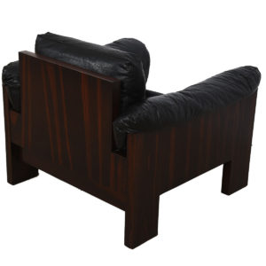 Pair of Danish Modern Rosewood Black Upholstered Lounge Chairs