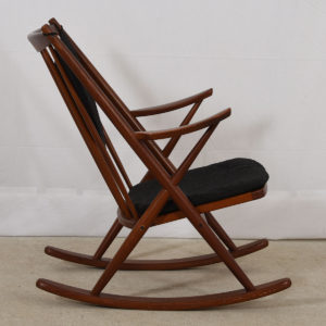Bramin Danish Teak Designer Rocking Chair w/ Charcoal Cushions