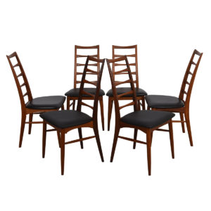 Early Set of 6 Koefoeds Hornslet Danish Two-Tone Teak Dining Chairs