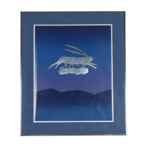 Surrealist Print of Flying Rabbit in Blue & Silver by Jean-Michel Folon