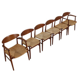 Rare Set of 6 Danish Teak Naestved Mobelfabrik Dining Chairs by Ejnar Larsen & Aksel Madsen
