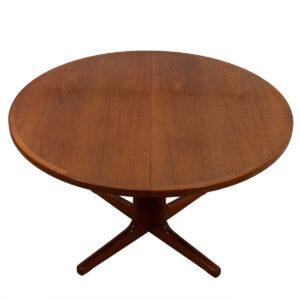 Danish Modern Teak Round Dining Table w/ Pedestal Base