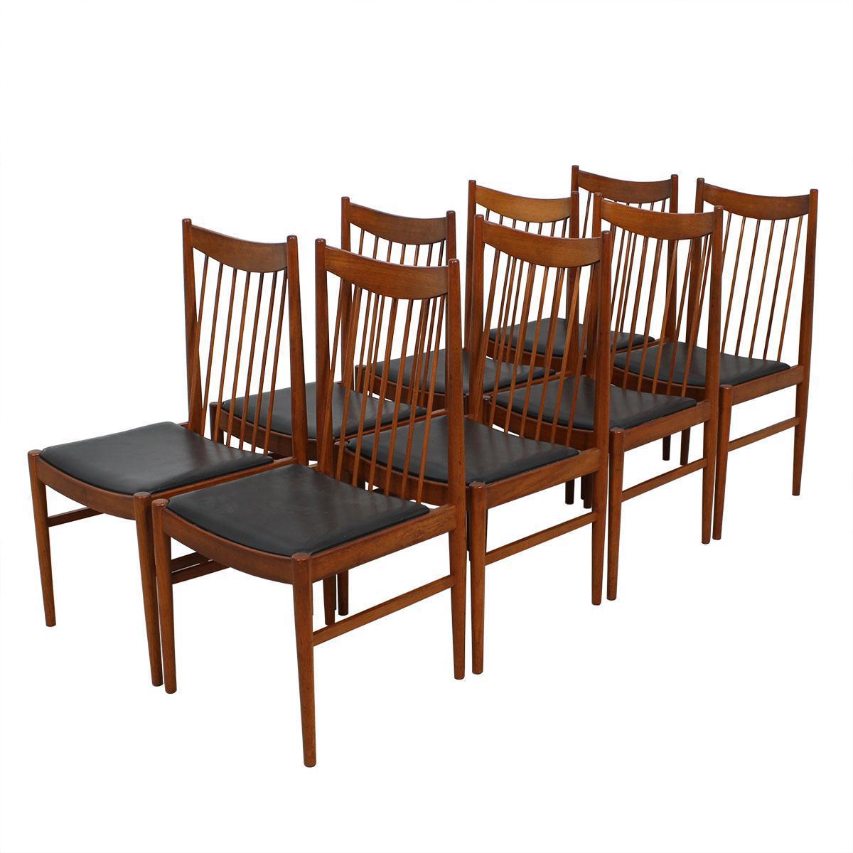 Set Of 8 Helge Sibast / Arne Vodder Danish Teak Spindle Back Chairs